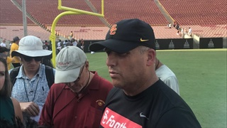 Clay Helton: USC's First Fall Scrimmage at the Coliseum